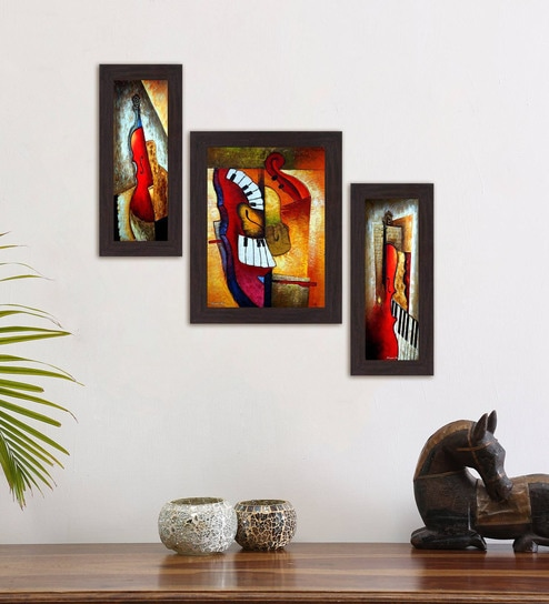 Buy Multicolour Amazing Art Set Of 3 Framed Wall Art Painting By ...