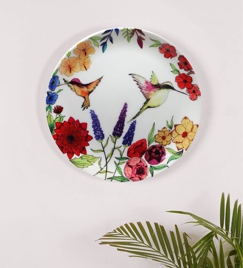 Black Bone China Humming Bird Floral Beauty Inspired Home Decor Wall Plate  10 Inch By Kolorobia