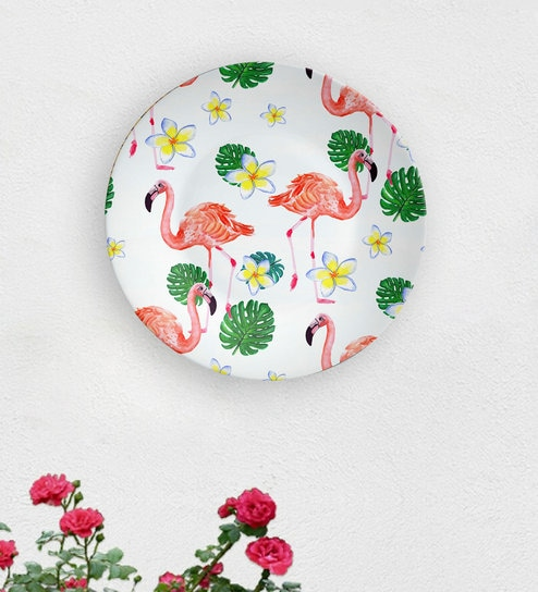 White Ceramic Dance Of The Flamingo Decorative Wall Plate By Quirk India