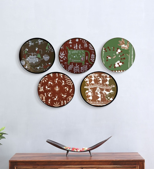 Brown Ceramic Indian Tribal Art Hand Painted Wall Decor Plates By Craftedindia Set Of 5