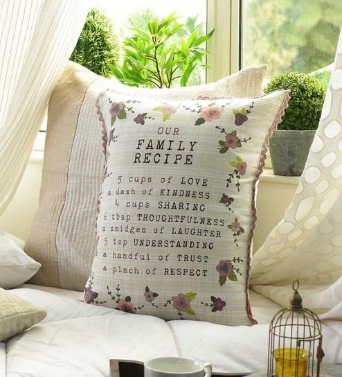 Buy Slogan Cotton 16 X 20 Inch Cushion Cover By Solaj Online