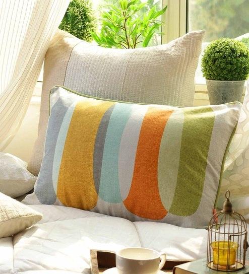 Geometric Pattern Cotton 16 X 24 Inch Cushion Cover By Solaj