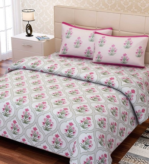 . Inspiration Floral Pattern 180TC Cotton Double Size Bed Sheet with 2 Pillow  covers By SEJ By Nisha Gupta