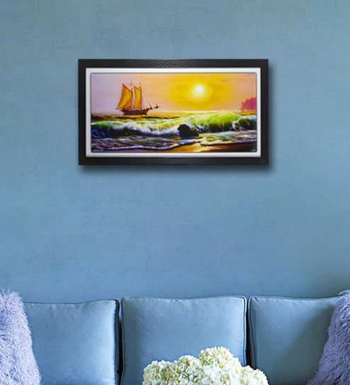 Multicolour Digital Paper Ship In Sea Art Wall Painting By Gallery99