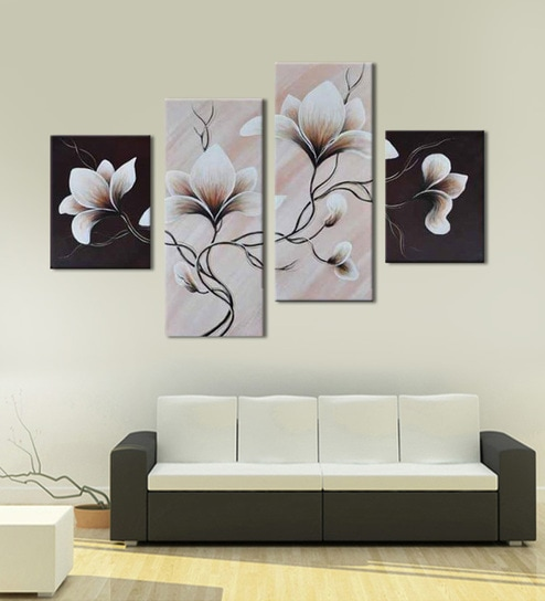 Buy Multicolour Framed Canvas Handmade Acrylic Style Flower Painting ...