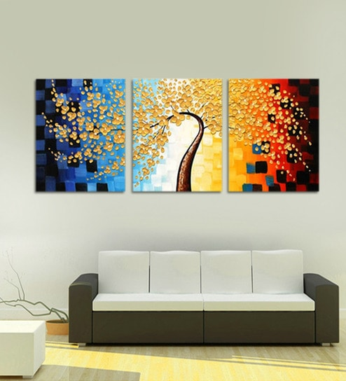 805cc47585 Multicolour Framed Handmade Flower Acrylic Painting On Canvas Modern  Abstract By 999Store