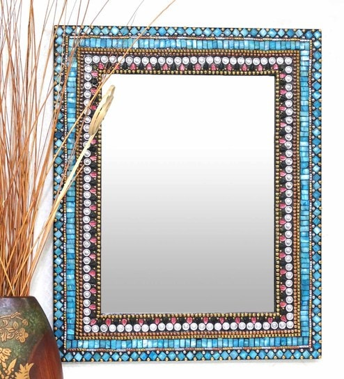 Multicolour Glass And MDF Rectangular Mosaic Mirror - 1618972