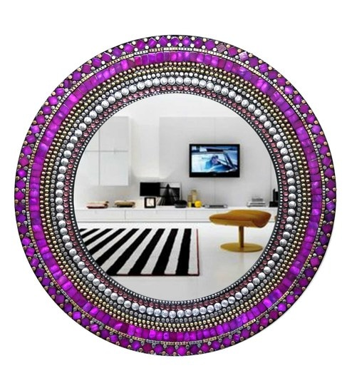 Multicolour Glass And MDF Round Mosaic Mirror