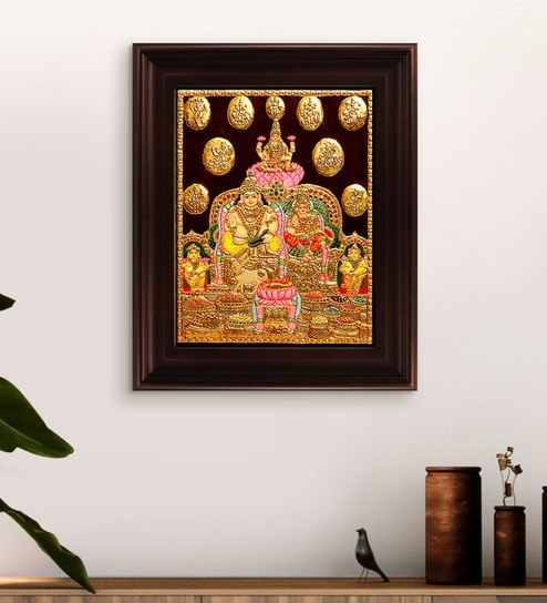 dad46ae2ae5 Multicolour Gold Plated Kubera Laxmi Framed Tanjore Painting by MyAngadi