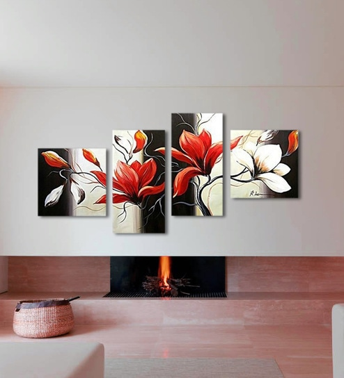 Multicolour Handmade Acrylic Painting Style Flower Painting Wall Art D Cor By 999store