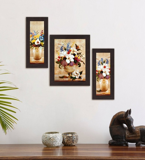 Buy Multicolour Magnificent Joyfulness Set Of 3 Framed Wall Art