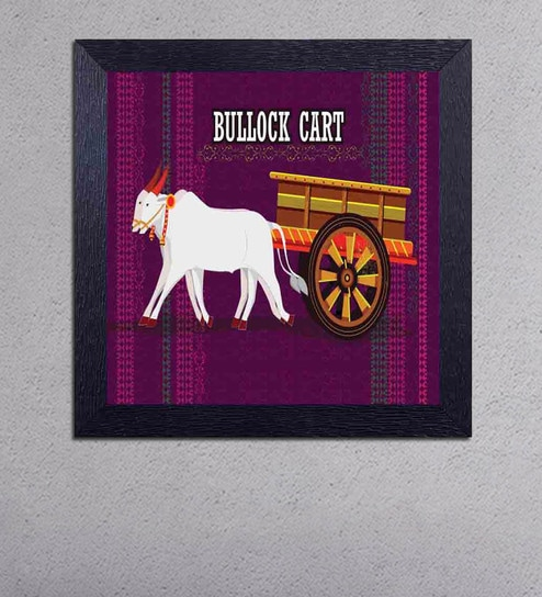 Multicolour Matt Paper Bullock Cart Poster by Decor Design
