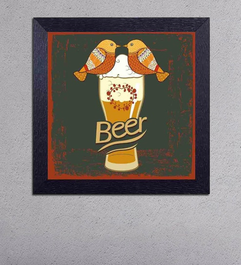 Multicolour Matt Paper Loving Birds on a Glass of Beer Poster by Decor Design