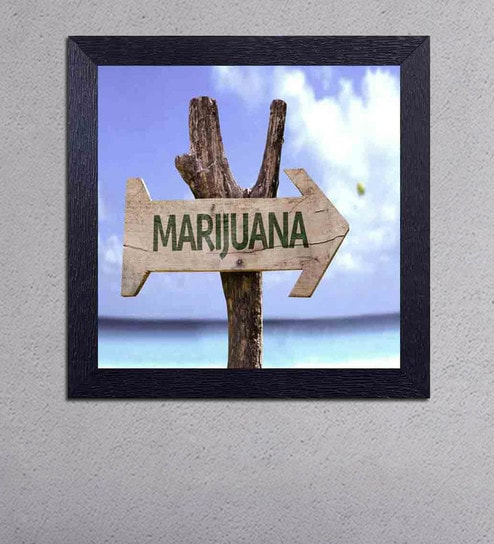 Multicolour Matt Paper Marijuana with An Arrow Poster by Decor Design