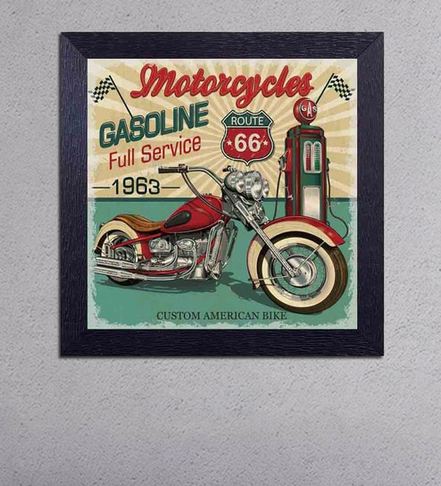 Multicolour Matt Paper Motorcycle Gasoline Fuel Service Poster by Decor Design