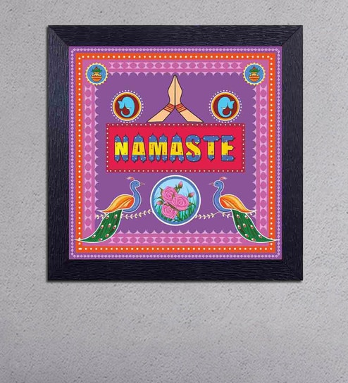 Multicolour Matt Paper Namaste Poster by Decor Design