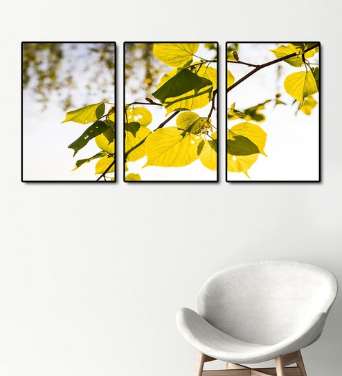 Multicolour MDF Leaves Printed Art Panels - Set of 3 by 999Store
