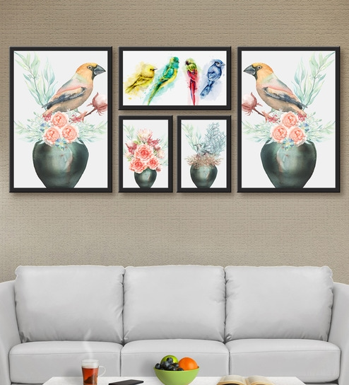 Sensational Multicolour Mdf Printed Colorful Birds Red Rose Multi Frame Painting By 999Store Ibusinesslaw Wood Chair Design Ideas Ibusinesslaworg
