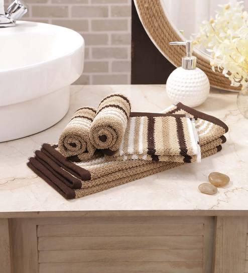 Multicolour Mercer Stripe Face Towels Set Of 6