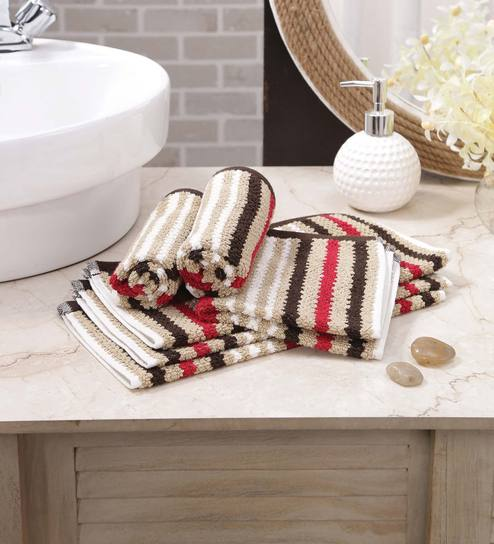 Multicolour Mercer Stripe Face Towels Set Of 6 - 1677380