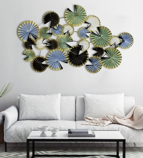 Multicolour Metal Folded Leaves Extra Large Wall Art By Craftter