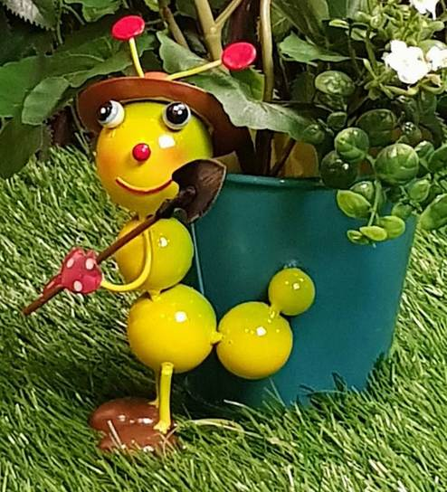 Multicolour Metal Table Top Flower Pot Small Caterpillar With Pot By  Wonderland
