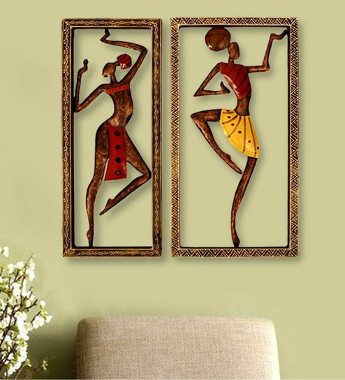 Buy Multicolour Metal Tribal Women Wall Hanging by CraftedIndia ...