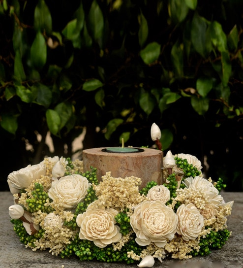 295baff0913f Buy Multicolour Natural Botanical Irresistible Log Candlestand Adorned With  Flowers Online - Artificial Flowers - Artificial Flowers - Decor -  Pepperfry ...