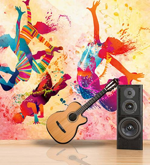 Multicolour Non Woven Music And Dance Wallpaper By Zara