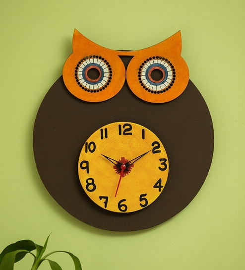 Multicolour Pine Wood Owl Face Wooden Handcrafted Wall Clock By Exclusivelane