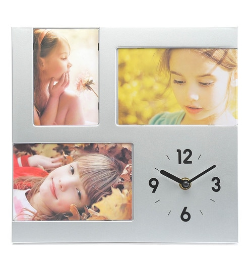 Buy Multicolour Plastic Analog Table Clock With Photo Frame By At Home