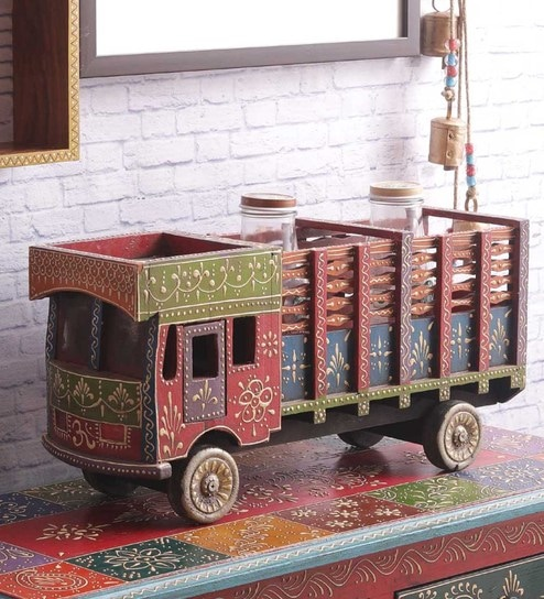 Buy Multicolour Ply Wood Hand Crafted Rajasthani Truck Decorative