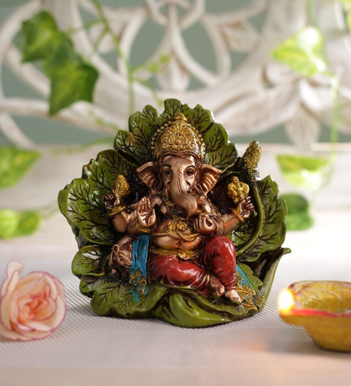 Multicolour Polyresine Car Dashboard Ganesh Idol By Ethnic Karigari