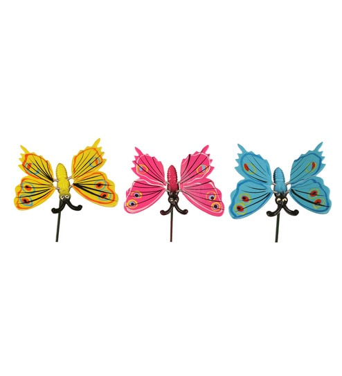 Multicolour Pvc Plastic Butterfly With 24 Inches Metal Stick Garden Dcor By  Wonderland   Set Of