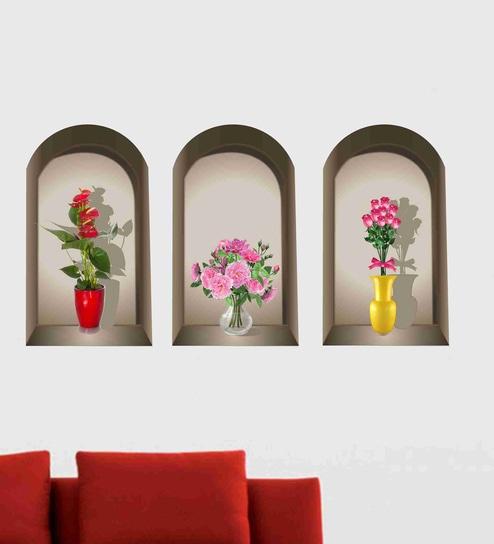 Buy Multicolour PVC Vinyl 3 Pieces 3D Beautiful Flower Pot Wall Sticker by Decor Kafe Online - Floral Wall Stickers - Wall Stickers - Wall Art - Pepperfry ... & Buy Multicolour PVC Vinyl 3 Pieces 3D Beautiful Flower Pot Wall ...