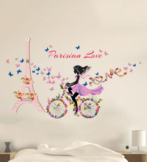 buy multicolour pvc vinyl bicycle with flowers & girl paris wall