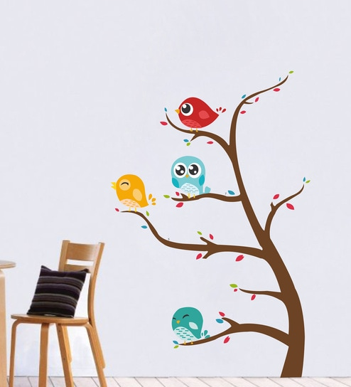 7966214a216 Buy Multicolour PVC Vinyl Branch Tree Cute Birds Wall Sticker by Decor Kafe  Online - Animal Wall Stickers - Wall Stickers - Wall Art - Pepperfry Product