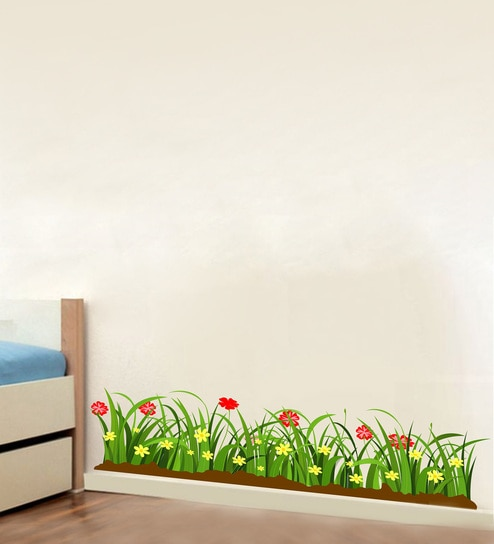 4c18fed3c34 Buy Multicolour PVC Vinyl Green Grass Red Flowers Wall Sticker by Decor  Kafe Online - Floral Wall Stickers - Wall Stickers - Wall Art - Pepperfry  Product