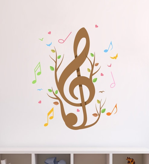 951969a1f9b Buy Multicolour PVC Vinyl Music Notes Birds   Hearts Wall Sticker by Decor  Kafe Online - Music Wall Stickers - Wall Stickers - Wall Art - Pepperfry  Product