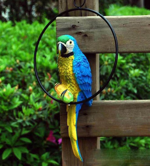 Multicolour Resin 13 Inches Height Parrot For Hanging Garden Decor By  Wonderland