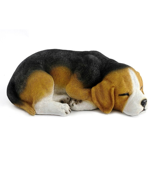 Multicolour Resin Beagle Dog Sleeping Statue Garden Decor By Wonderland