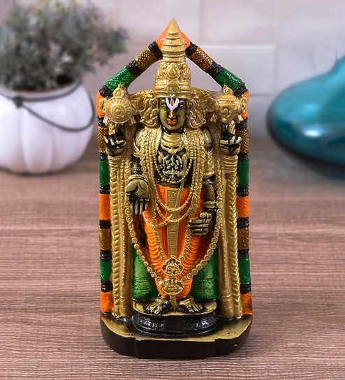 Buy Multicolour Resin India Handcrafted Tirupati Balaji Showpiece For Home Decor By Karigaari Online