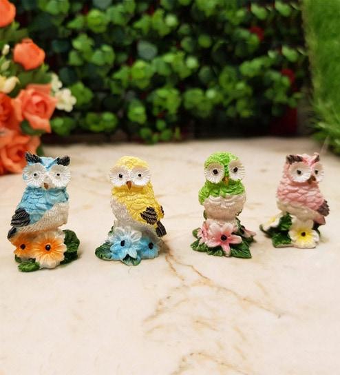 Multicolour Resin Owls Artificial Bird & Animal - Set of 4 by Wonderland