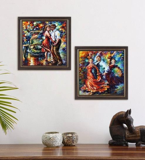 Buy Multicolour Rock And Roll Dance Modern Art Framed Wall Art ...