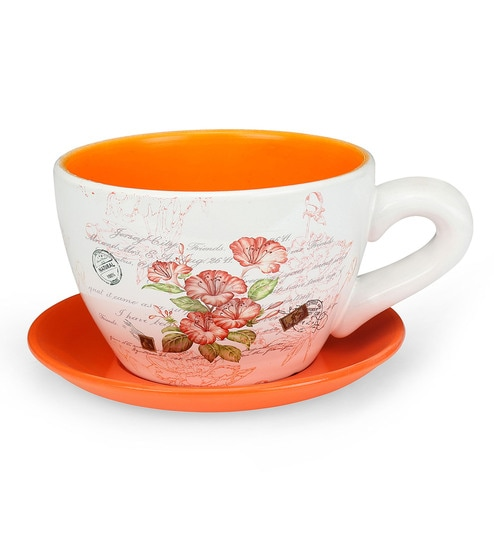 Buy Multicolour Terracotta Mini Gareden Cup Saucer Planter By Home