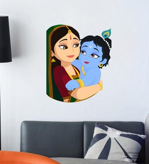 Multicolour Vinyl Krishna God Wall Sticker By Wall Attraction