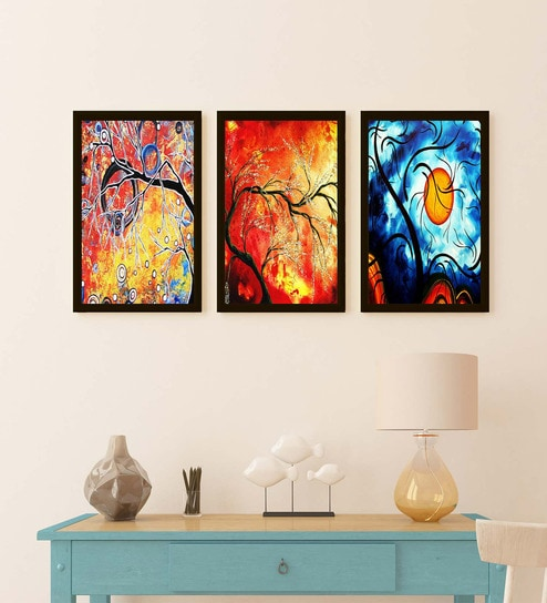 Multicolour Wood Beautiful Rising Sun And Tree Frame Wall Art Painting By Go Hooked