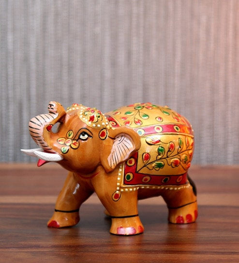 Buy Multicolour Wood Elephant Jaipur Printing Showpiece By Devi