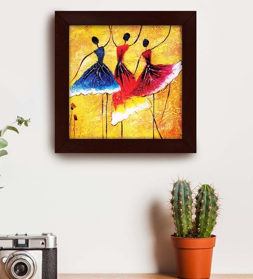 Multicolour Wood Exclusive Frame Dancing Ladies Art Paintings By Story Home