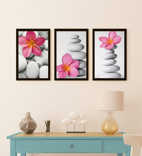 Multicolour Wood Stone Frame Wall Art Painting By Go Hooked